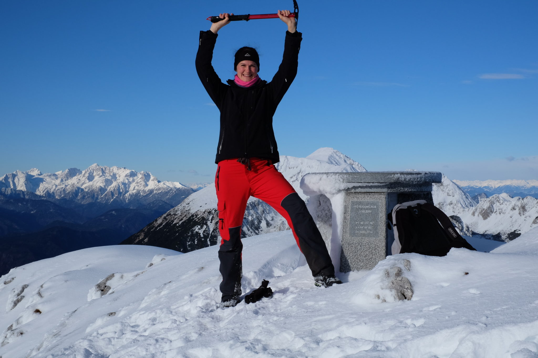 At the top of Mt. Begunjščica, 2,060 m.