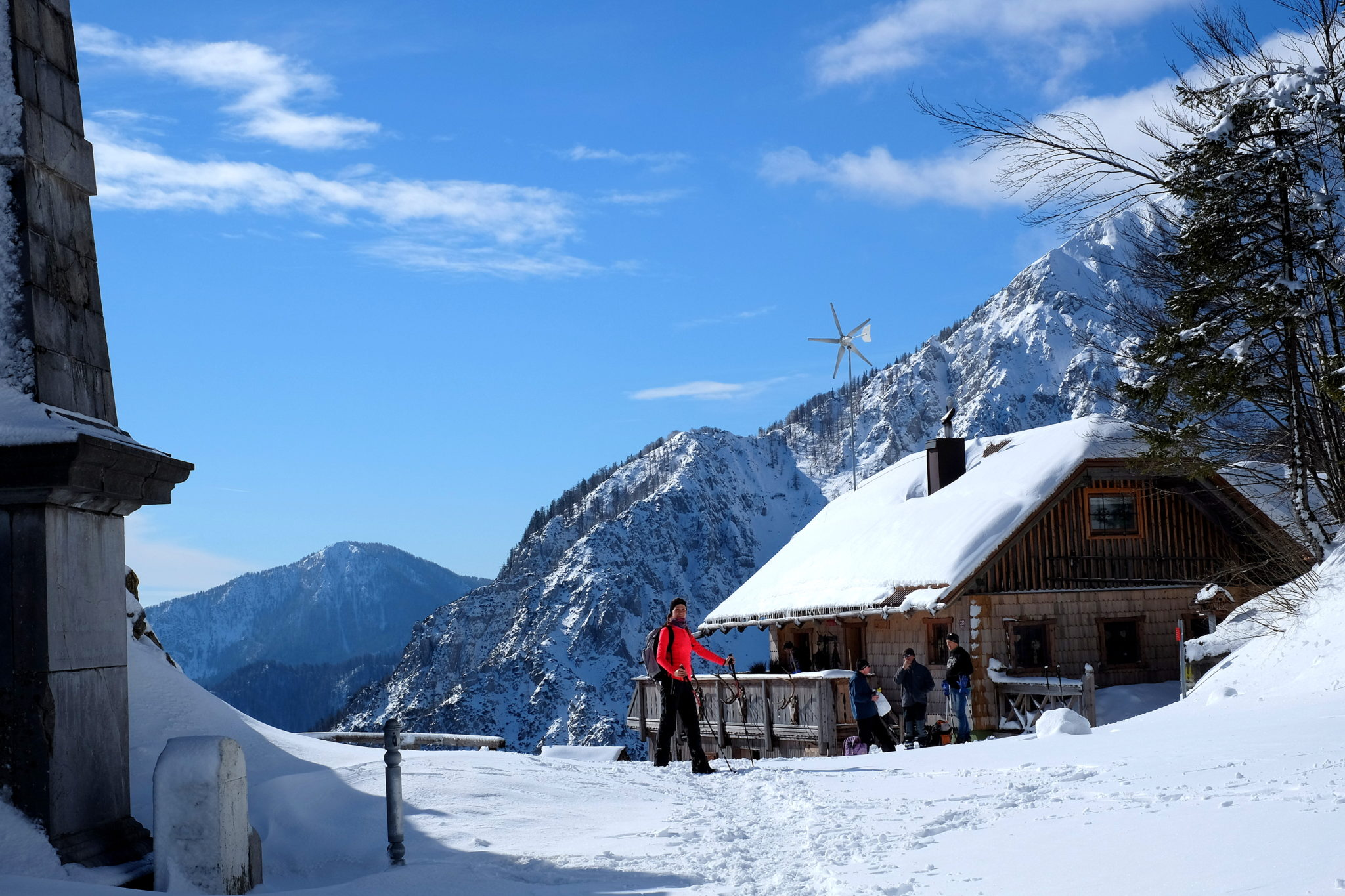 The hut at the Ljubelj Pass, 1,370 m (4,490 ft), with astonishing panoramic views over high mountains. Mt. Begunjščica in the background.