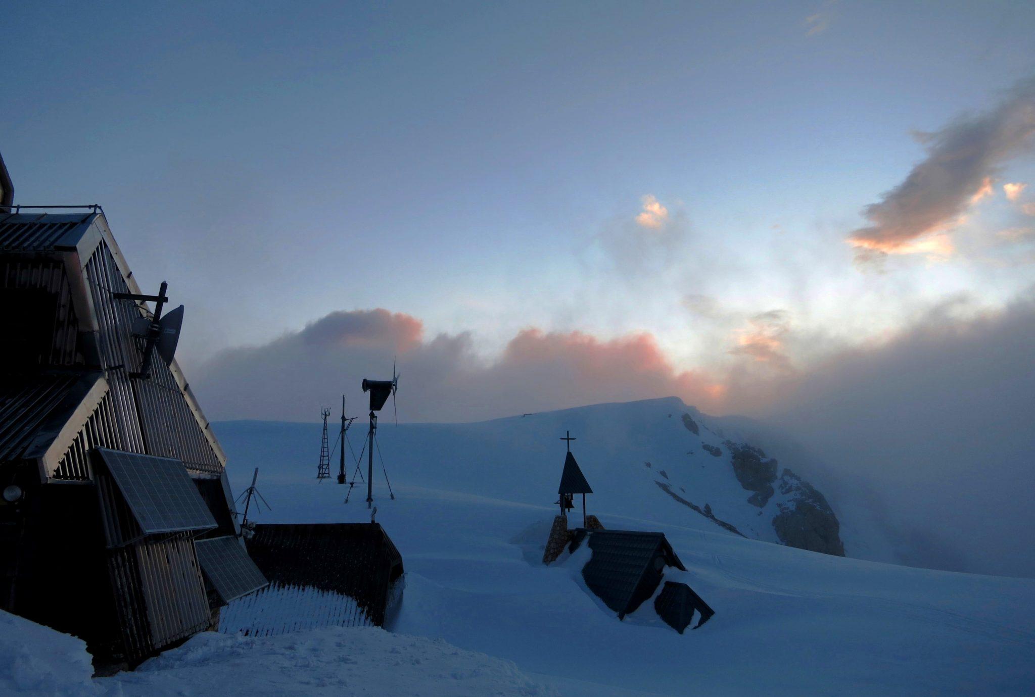 At the Triglav Lodge at Kredarica, the highest mountain hut in Slovenia.