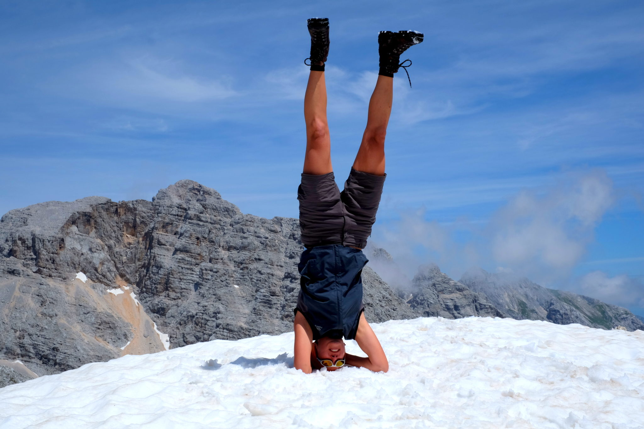 Doing a headstand on Mt. Križ.