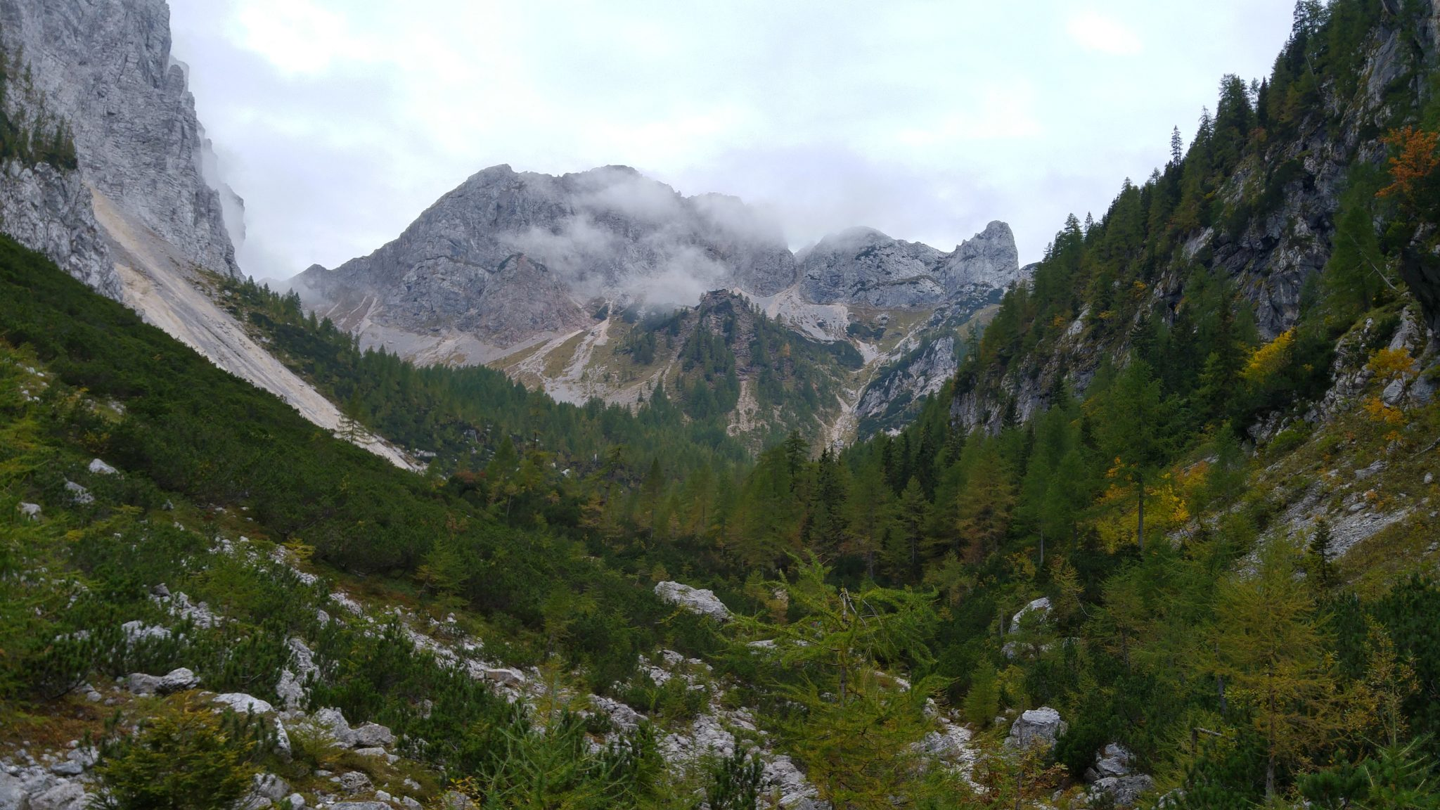 The first section starts in a forest and then passes two open alpine meadows below towering mountains.