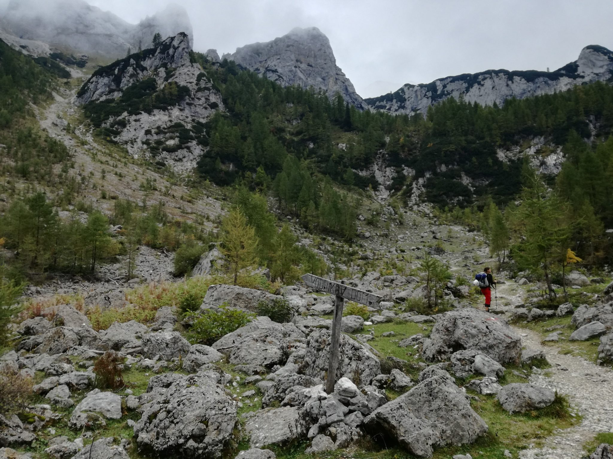 Approaching an alpine meadow called Zgornja Krma with its little hut Prgarca.