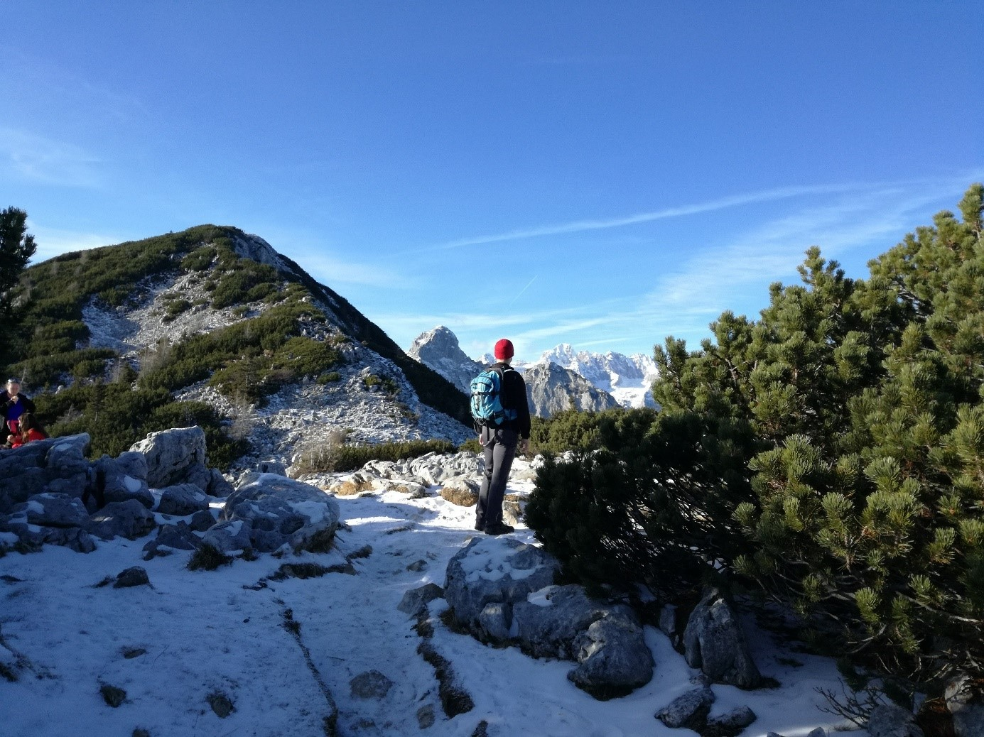 After the Blejska hut at the Lipanca valley, the trail puts on a scenic note revealing amazing views of Triglav and other grand mountains in the Julian Alps