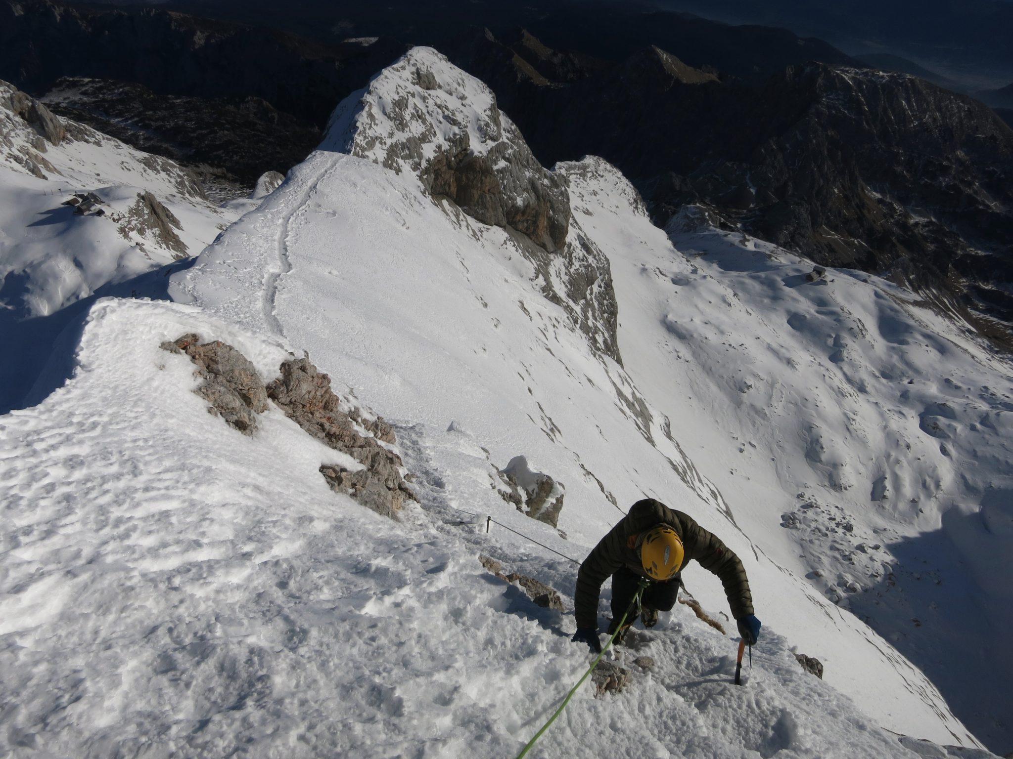 A climber on the way to Triglav, Slovenia.