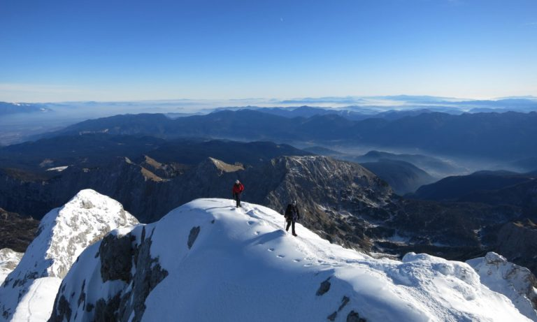 Two climbers on the way to Triglav, Slovenia.