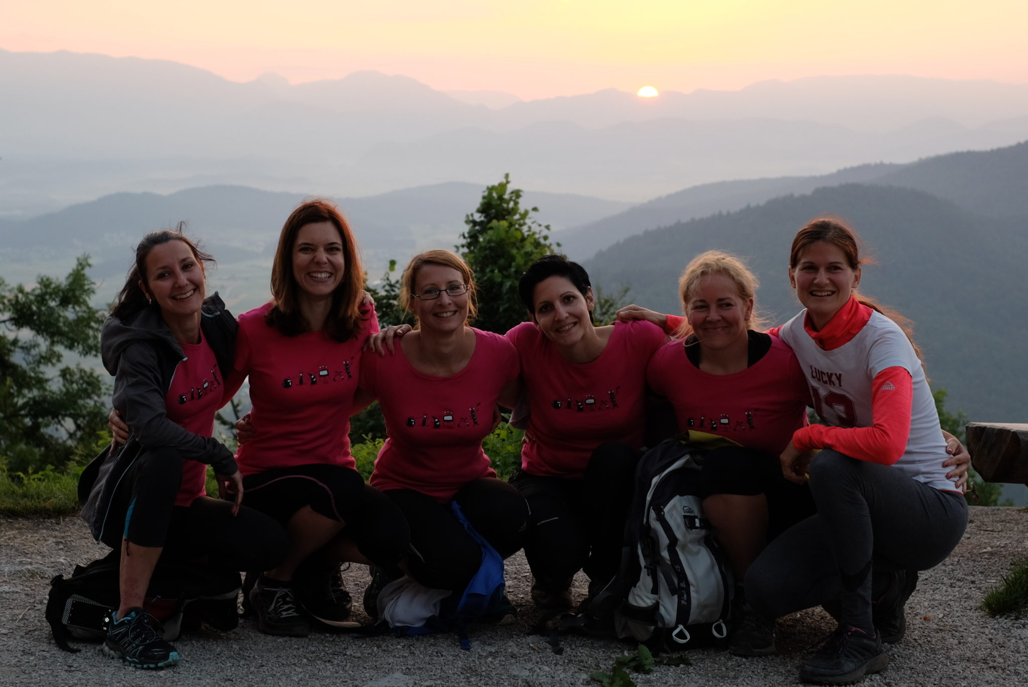 A group of girls at the top of Šmarna Gora for sunrise