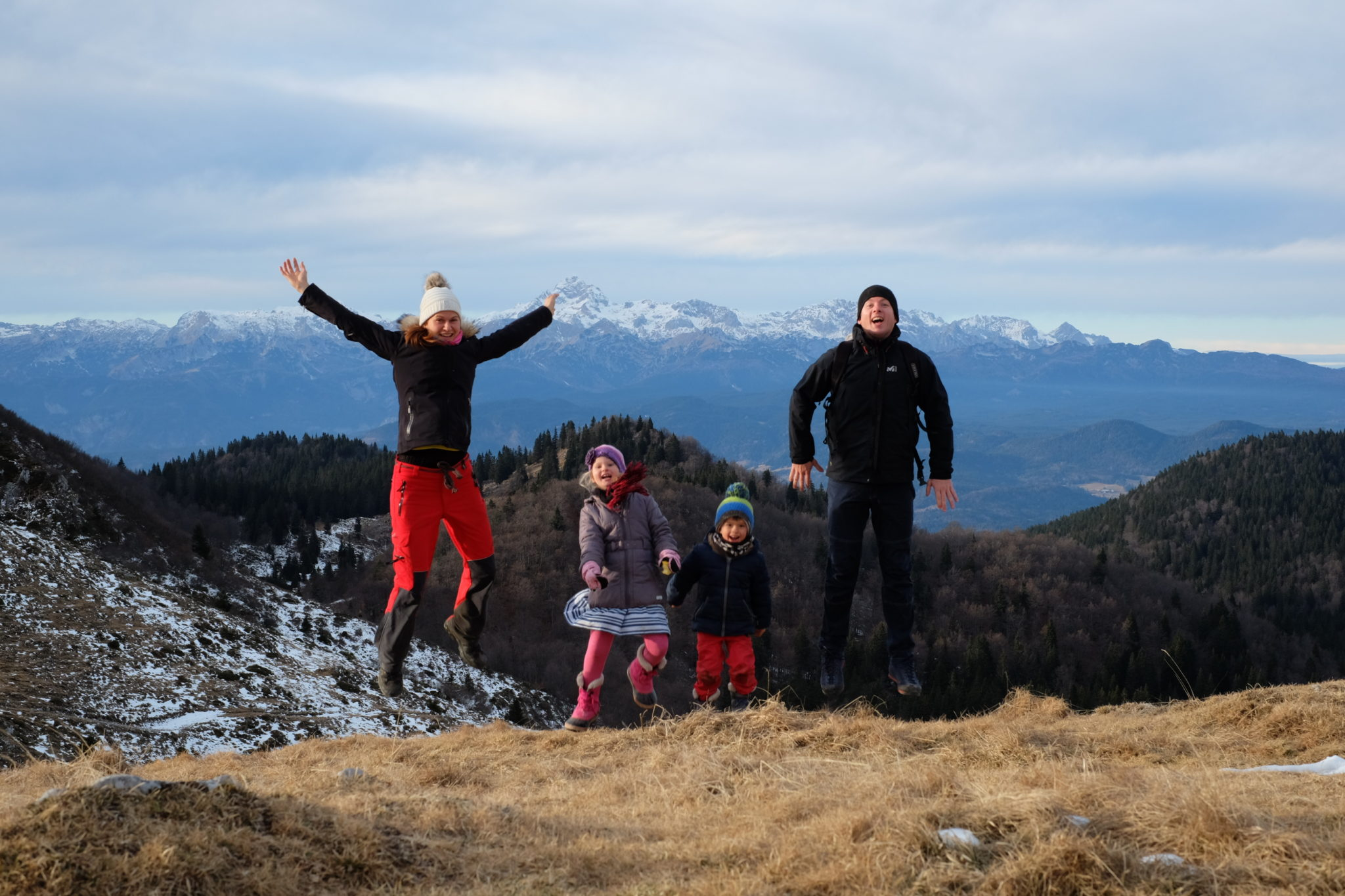 A family in the mountains, Slovenia