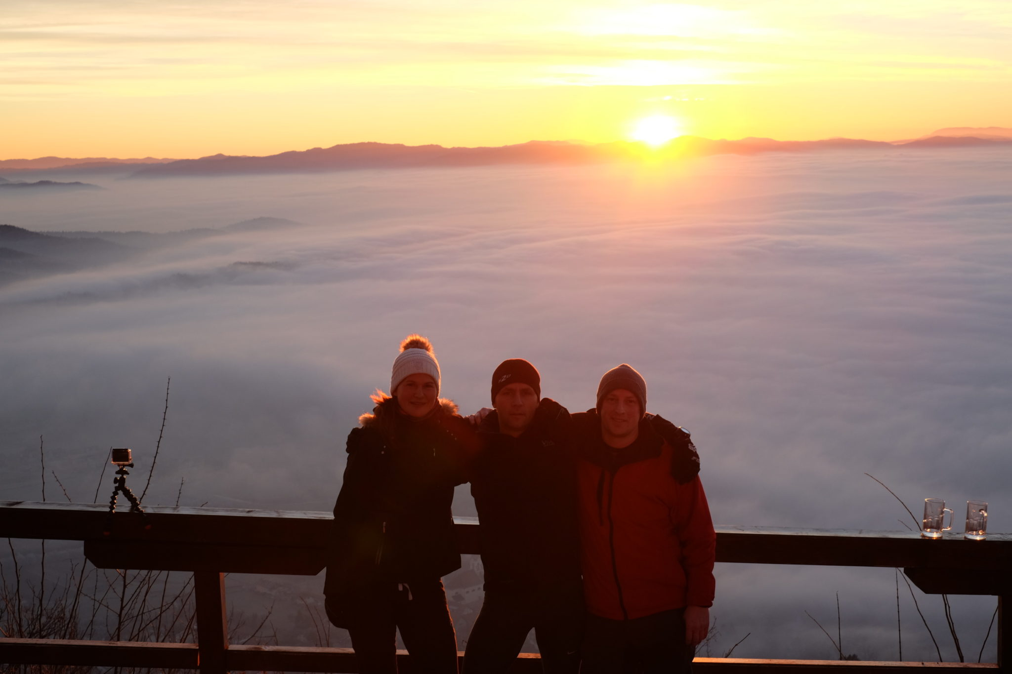 Friends at the top of Šmarna Gora for sunrise