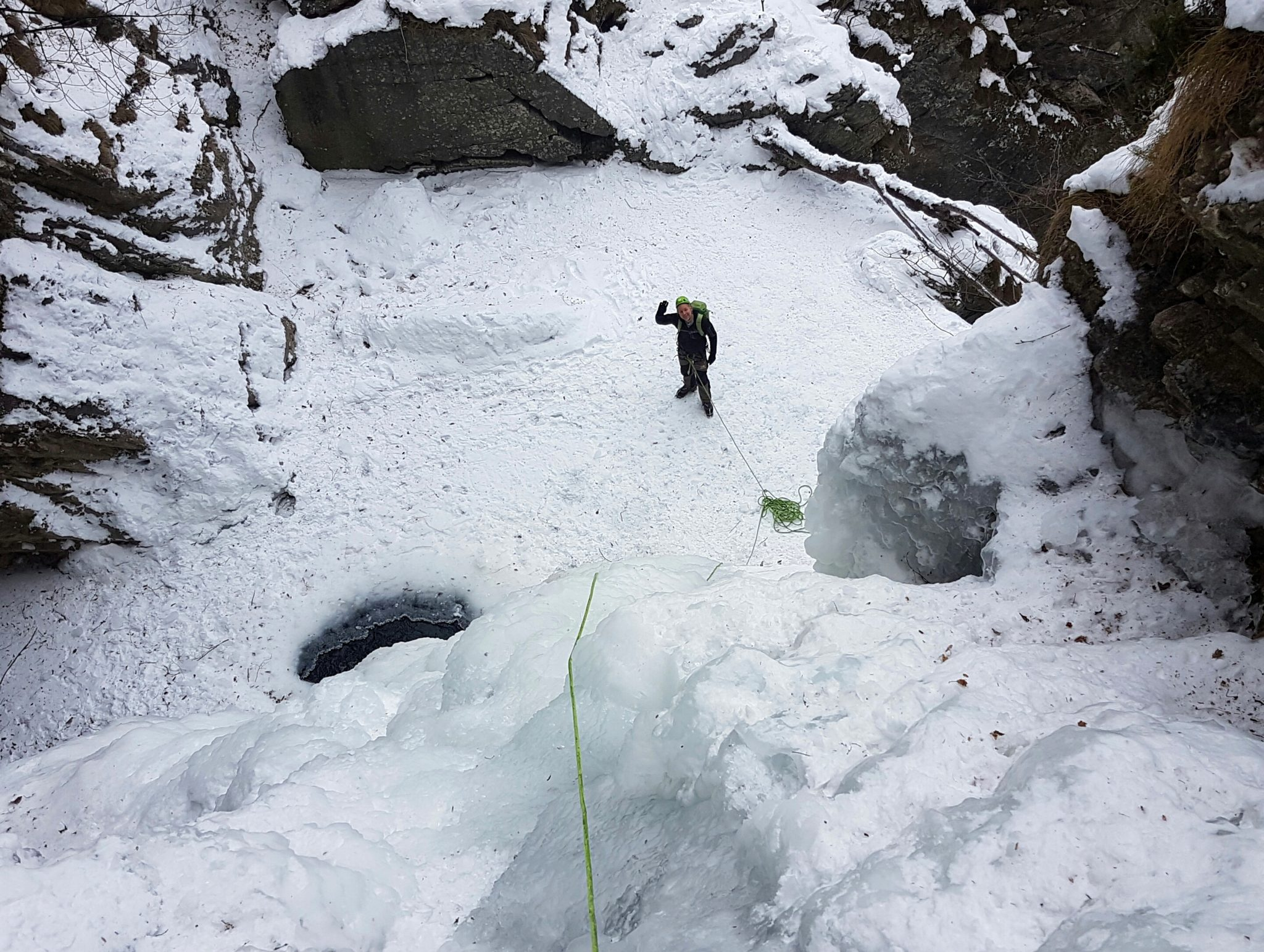 An ice climber in the Hell Gorge