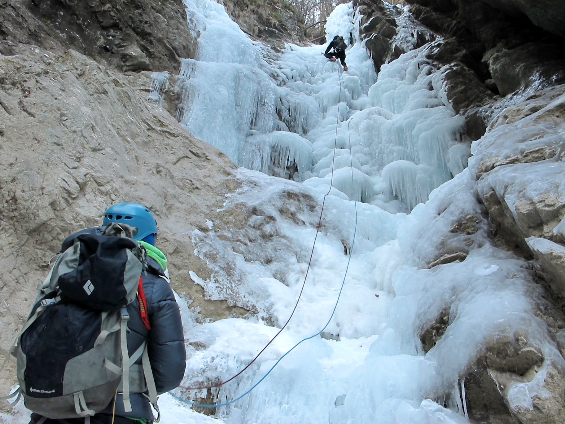 Ice climbing in the Hell Gorge