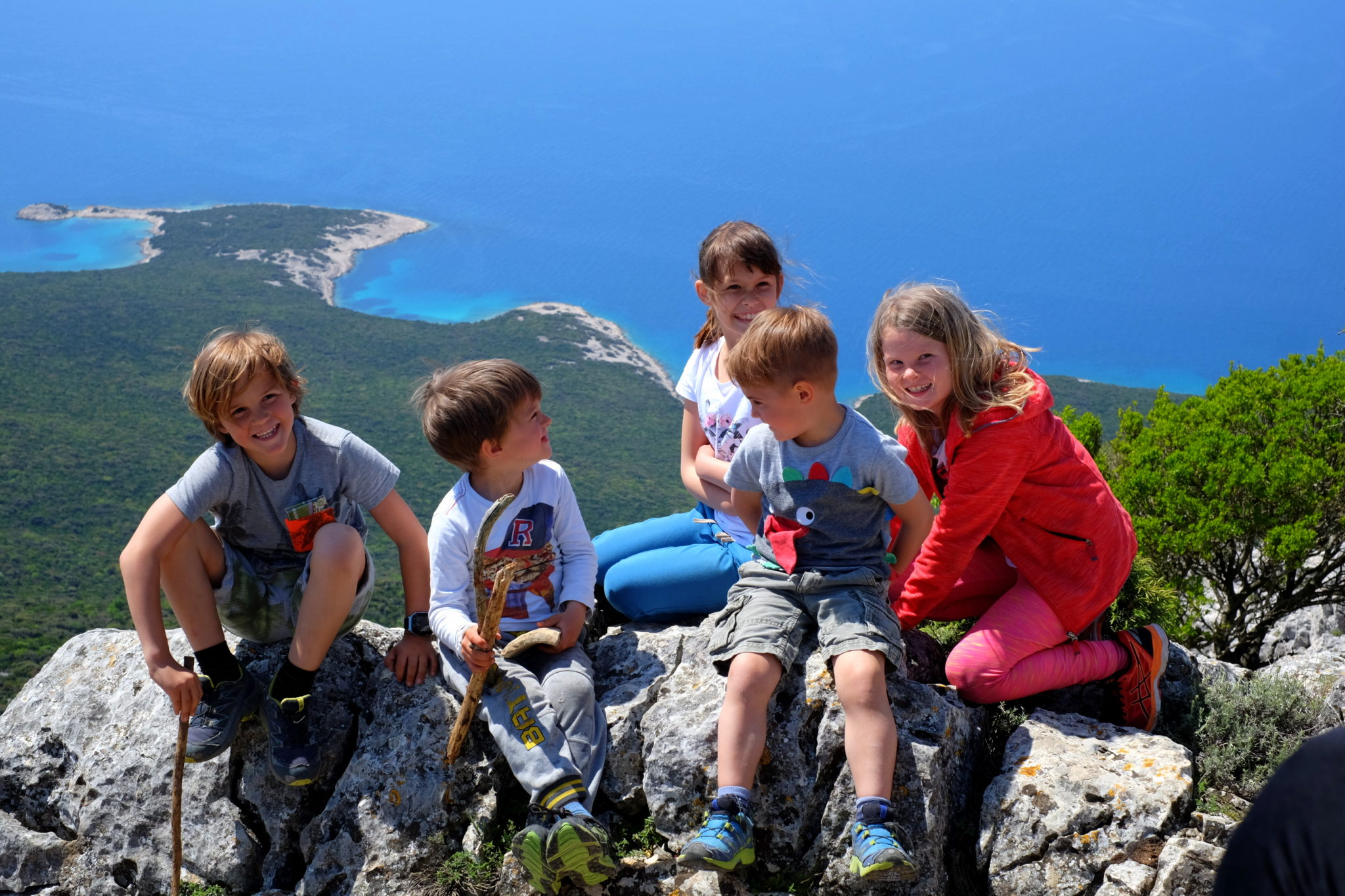 Family hiking Televrin, Lošinj, Croatia