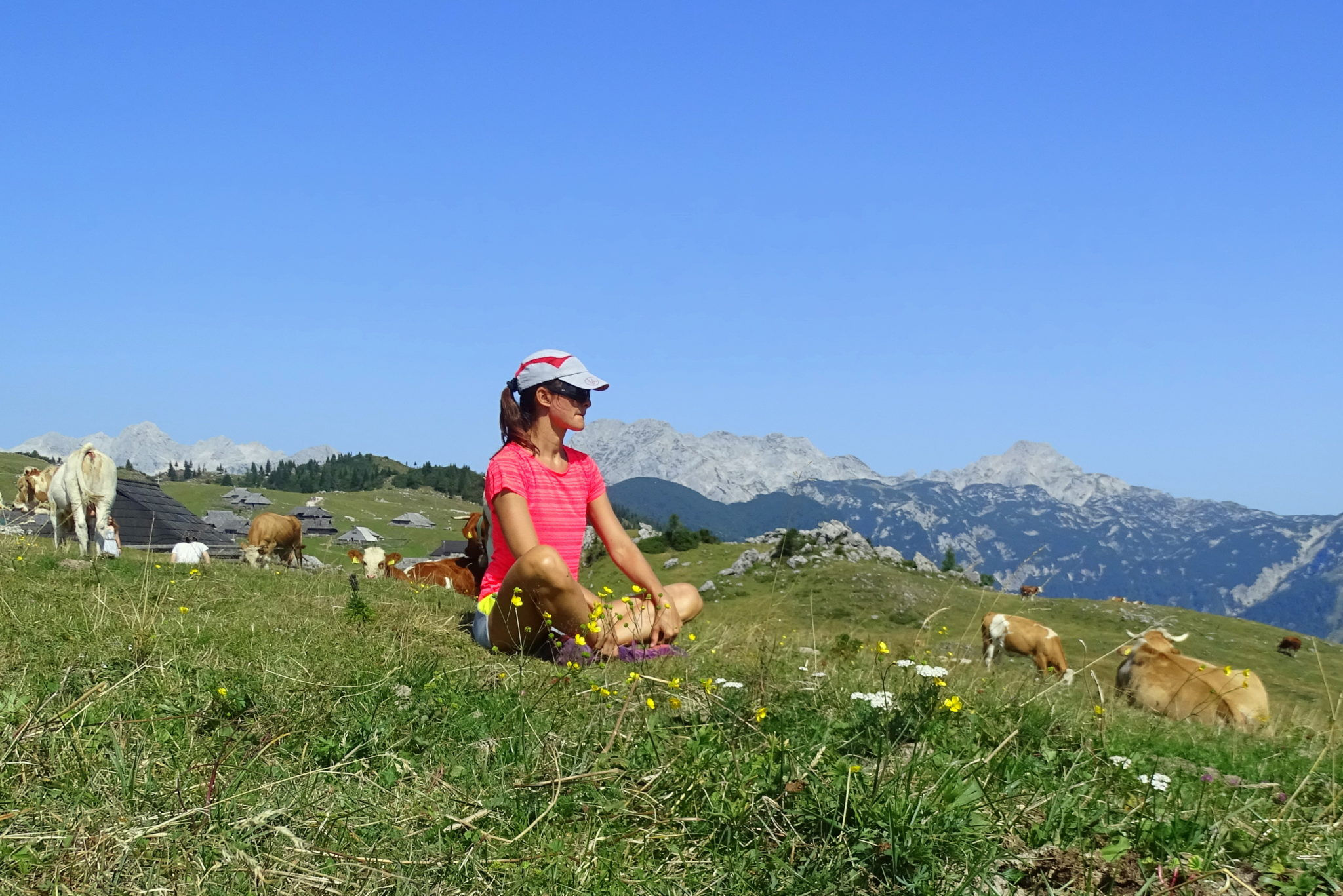 A female hiker enjoying Velika Planina, Central Slovenia