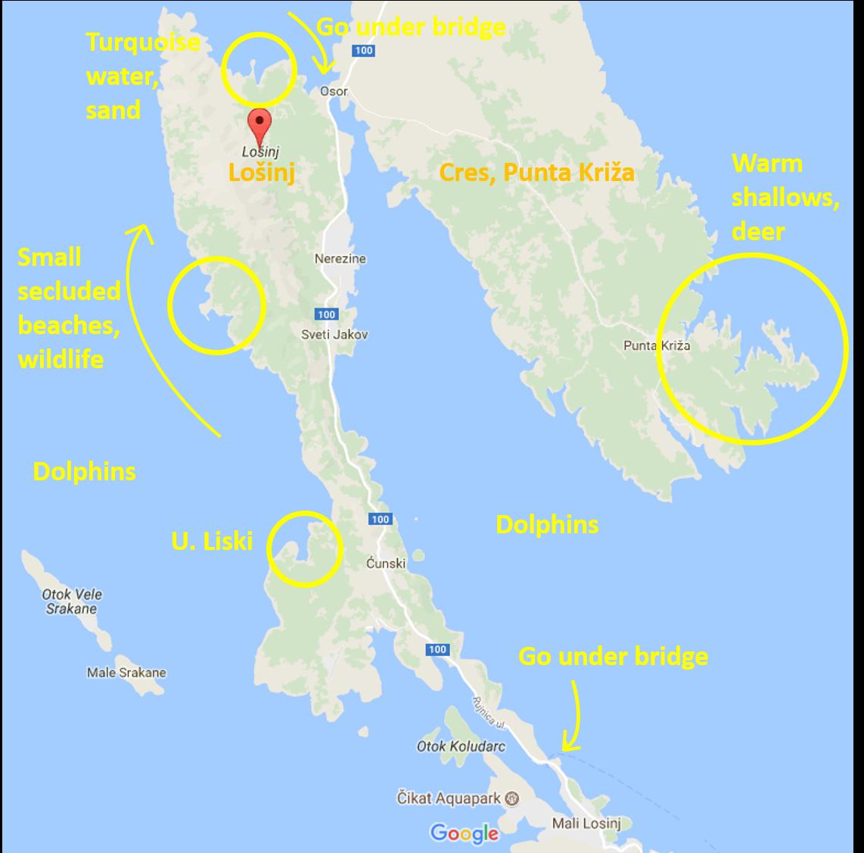 Boating map of Lošinj and Cres, Punta Križa
