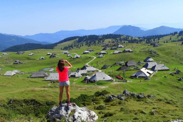 A female hiker enjoying Velika Planina, Slovenia #centralslovenia