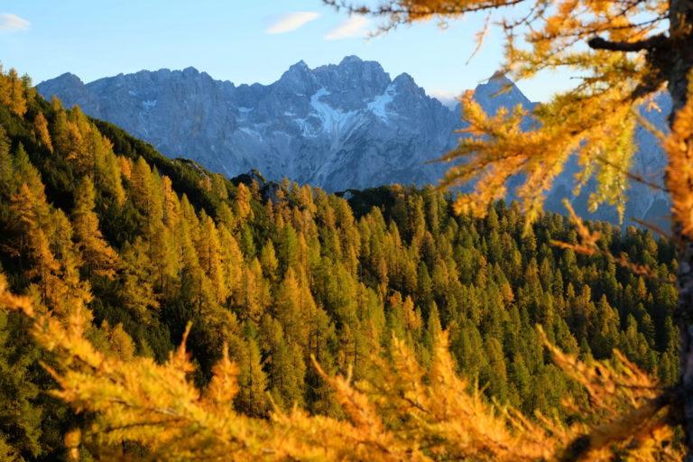 Julian Alps in fall, autumn, Slovenia, Kranjska Gora, Trupejevo Poldne