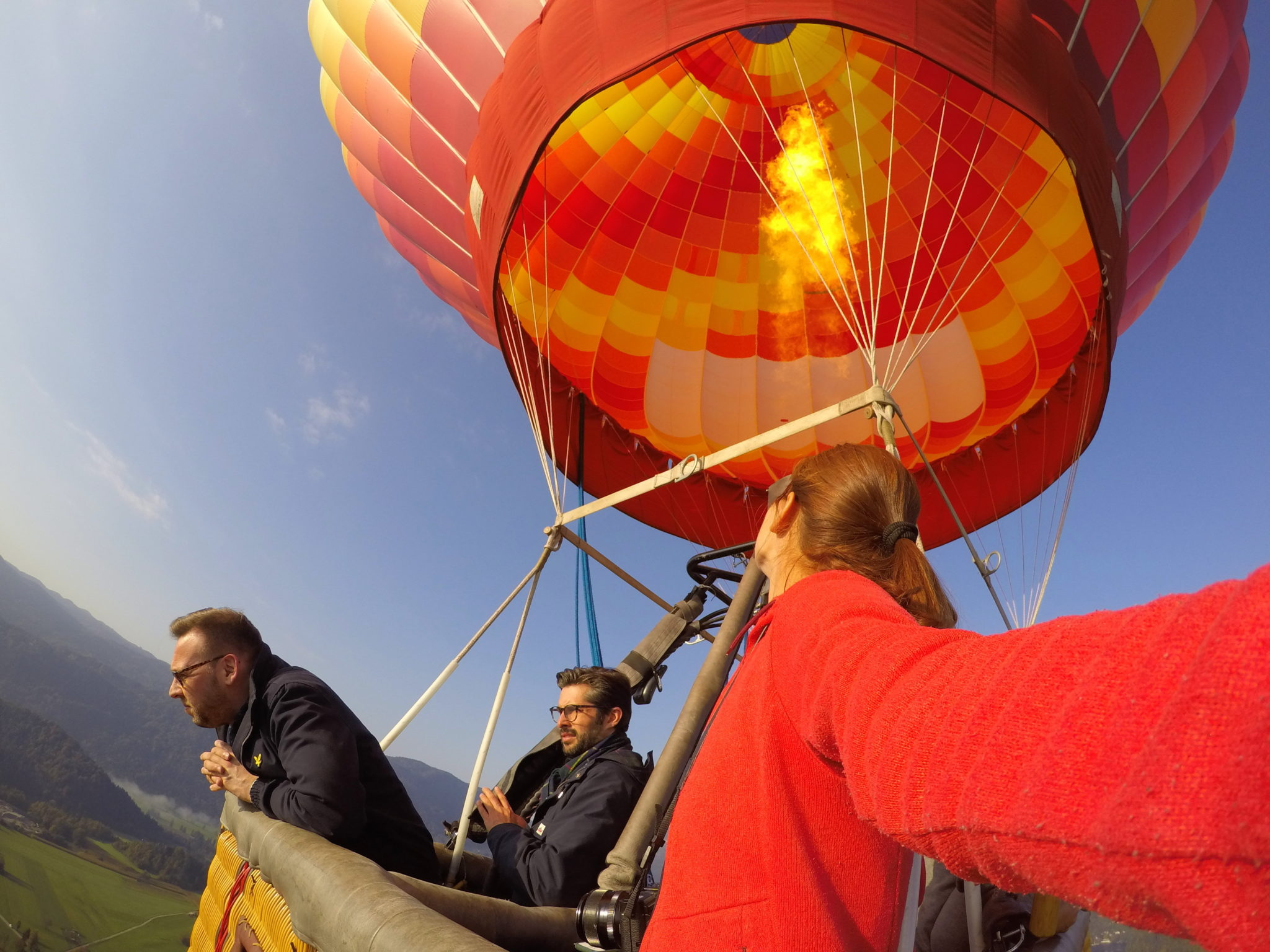 In a hot air balloon