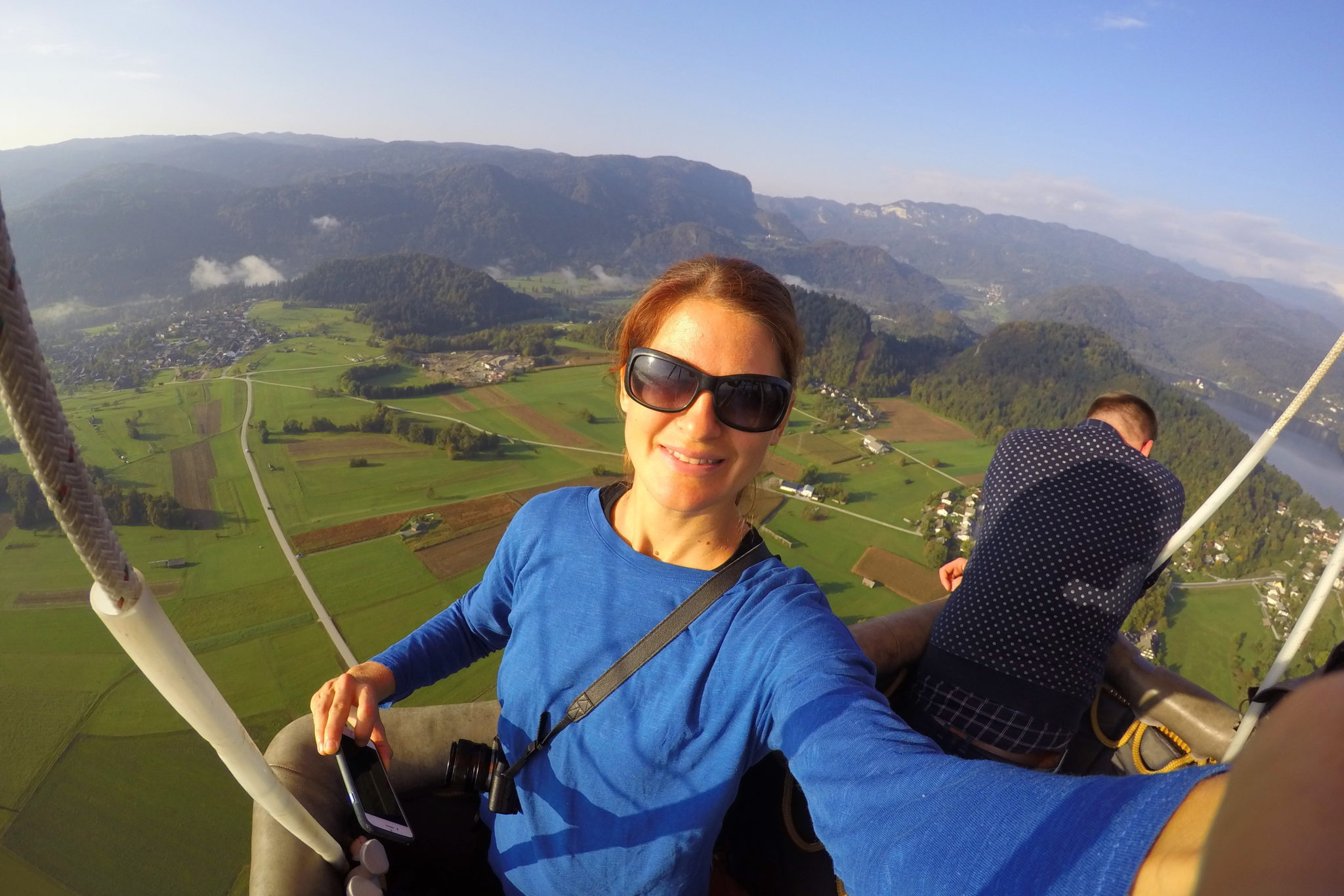 In a hot air balloon above Lake Bled.