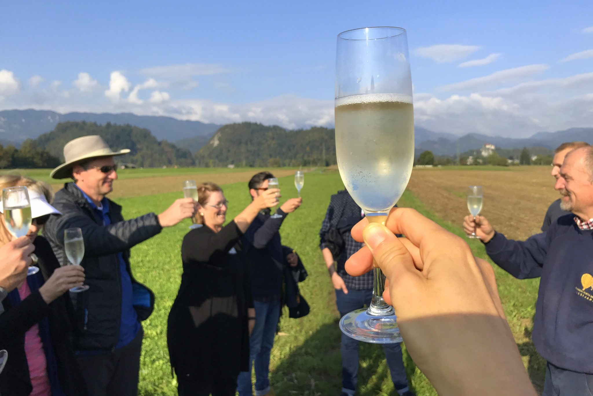 Toasting to flying in a hot air balloon