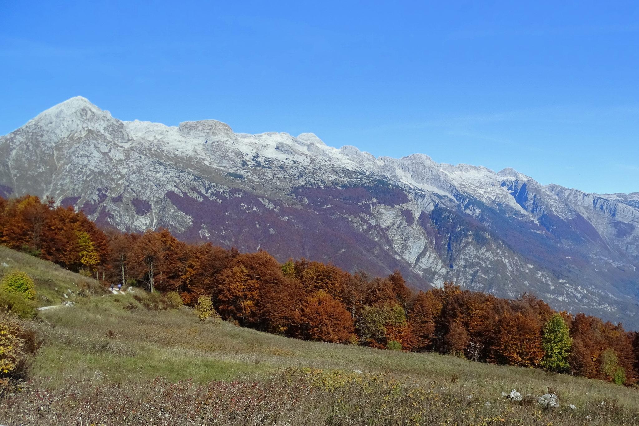 Autumn hiking from Učja Pass to Kobariški Stol. Slovenia