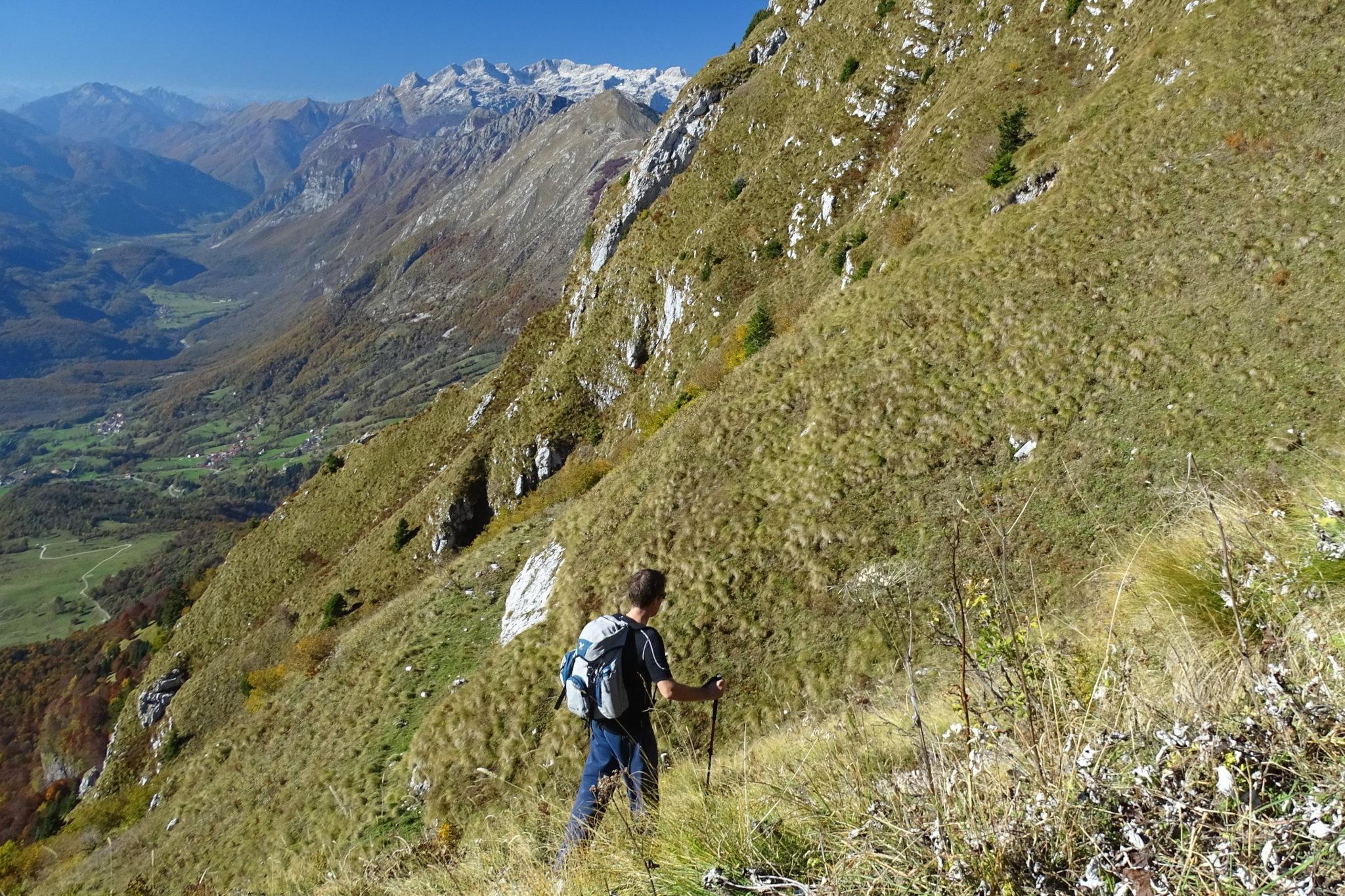 Hiking in Julian Alps down Mt. Krn, Slovenia