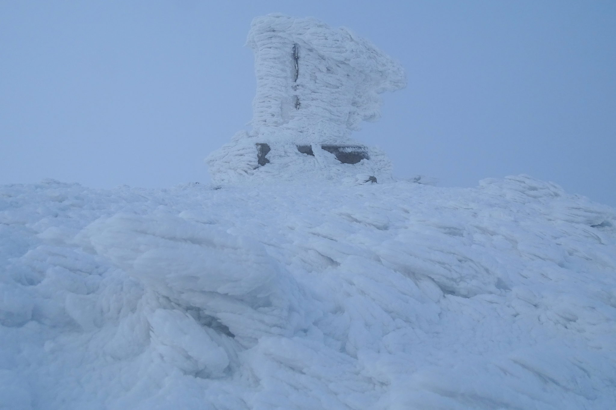 The very top of Snežnik in winter, frozen