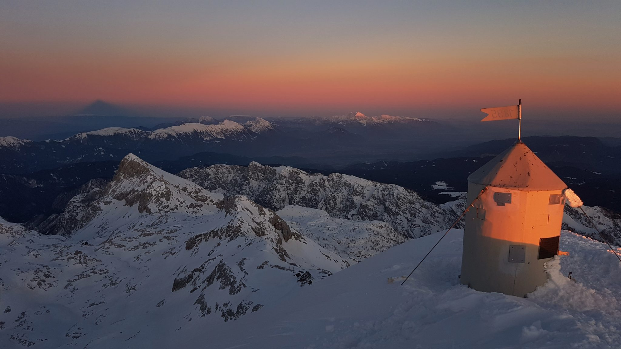 The Aljaž Tower on the Triglav peak, sunset, Julian Alps, Slovenia