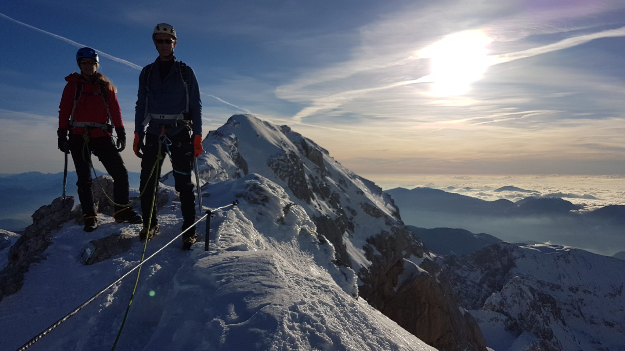 Climbing Triglav in winter with a mountain guide