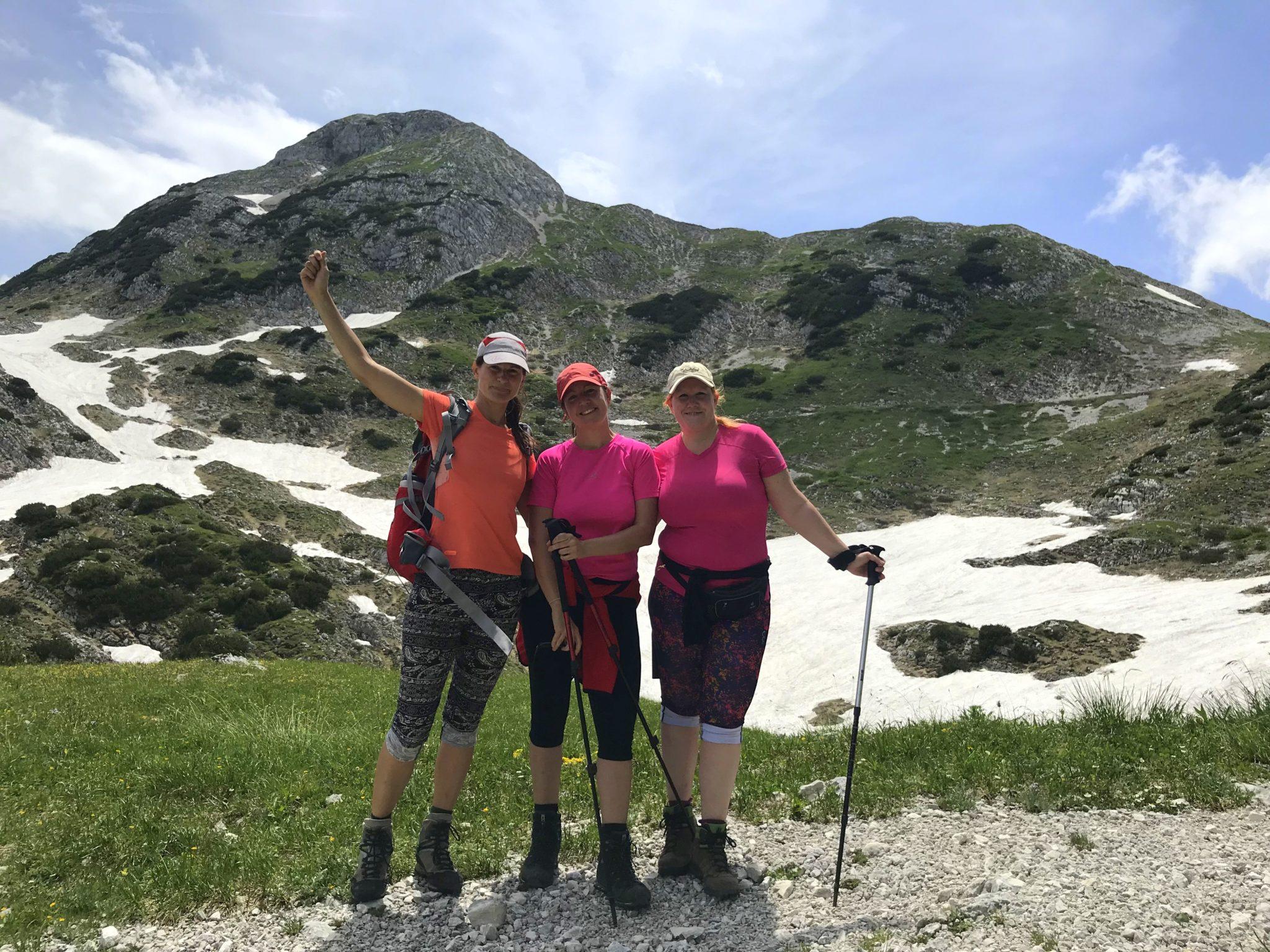 Three women enjoying a hike in the Triglav National Park