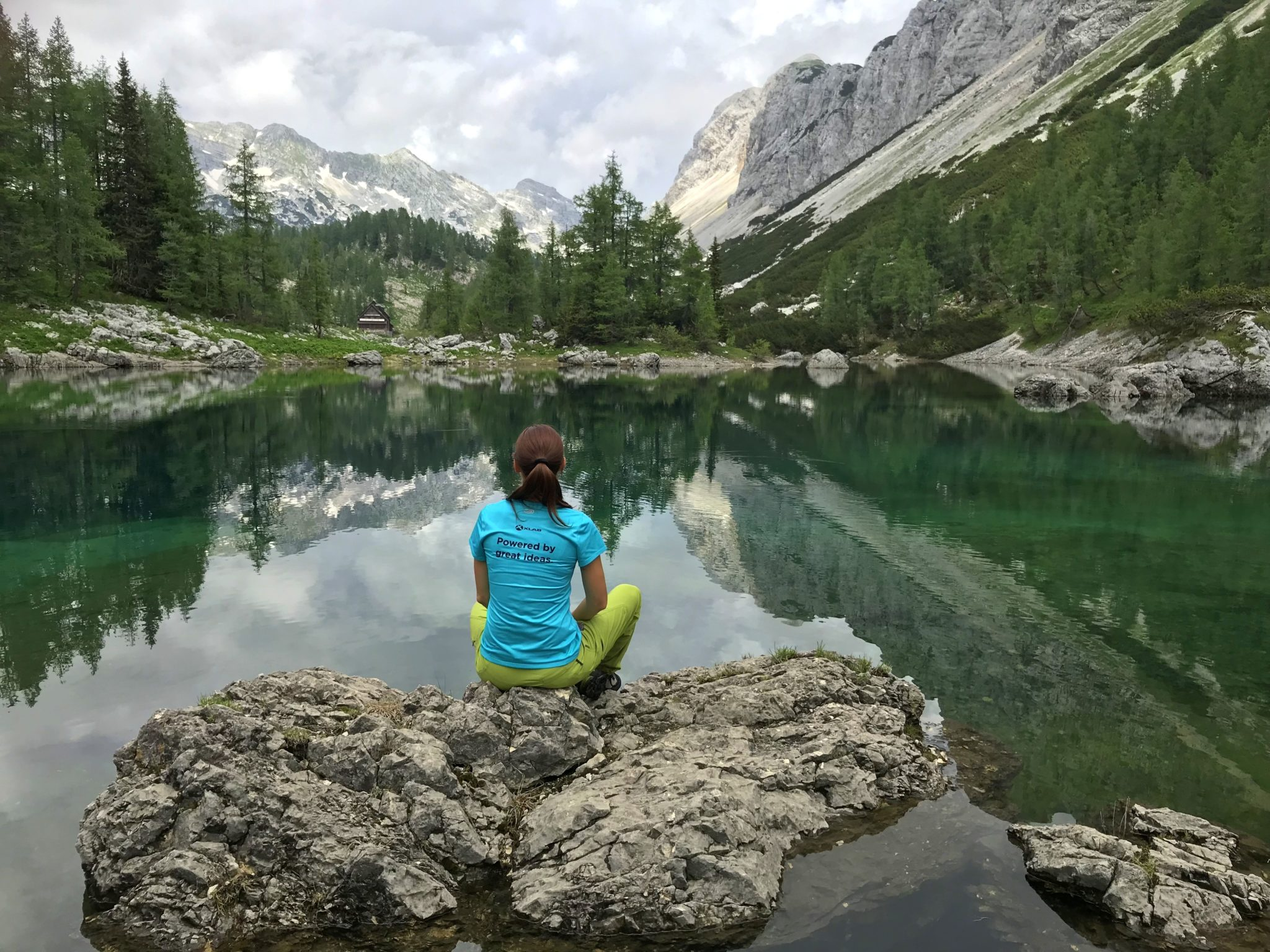 Triglav Lakes view, the Double Lake, Slovenia, hiking