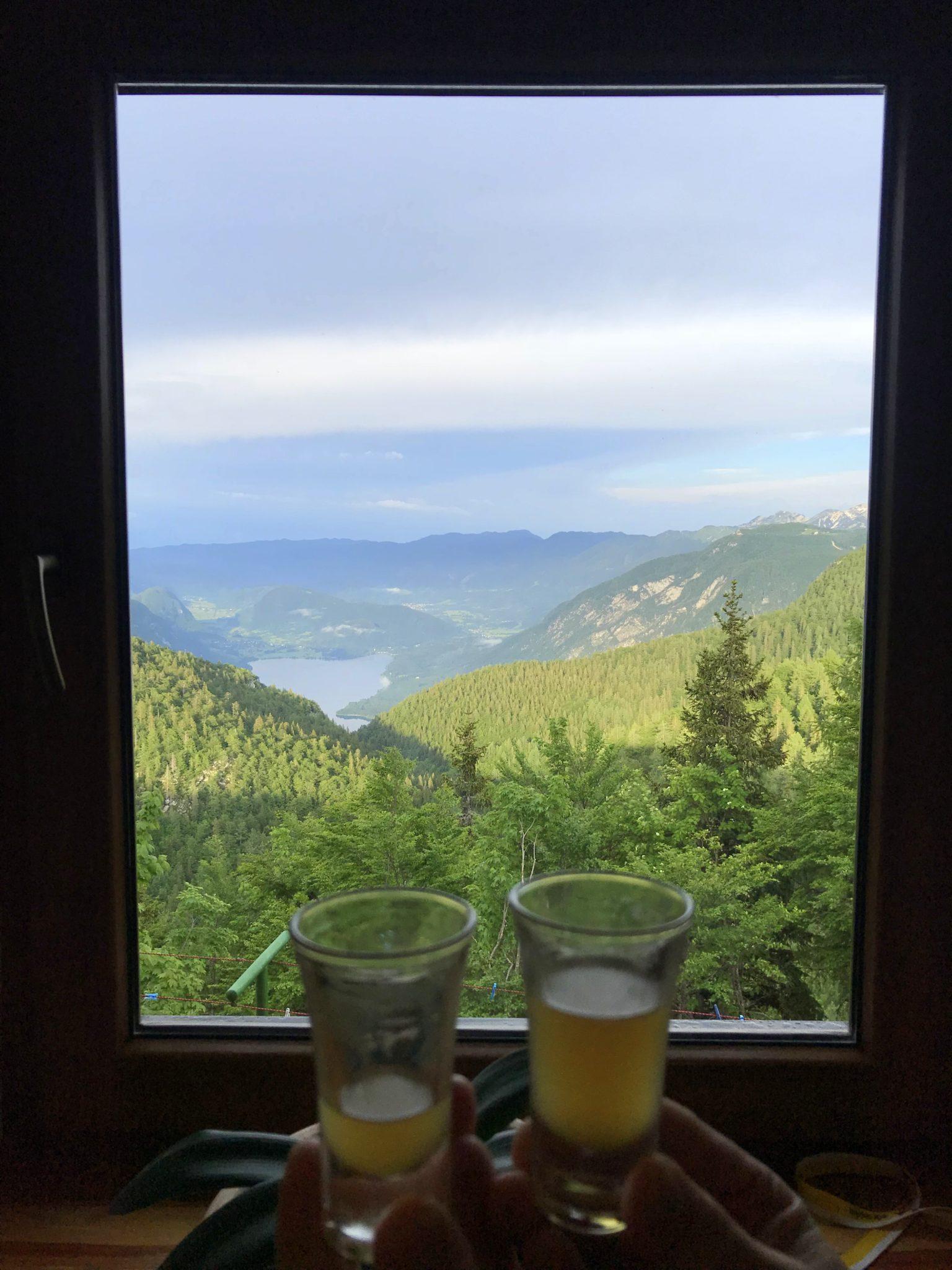 Overlooking Lake Bohinj from the Komna Hut