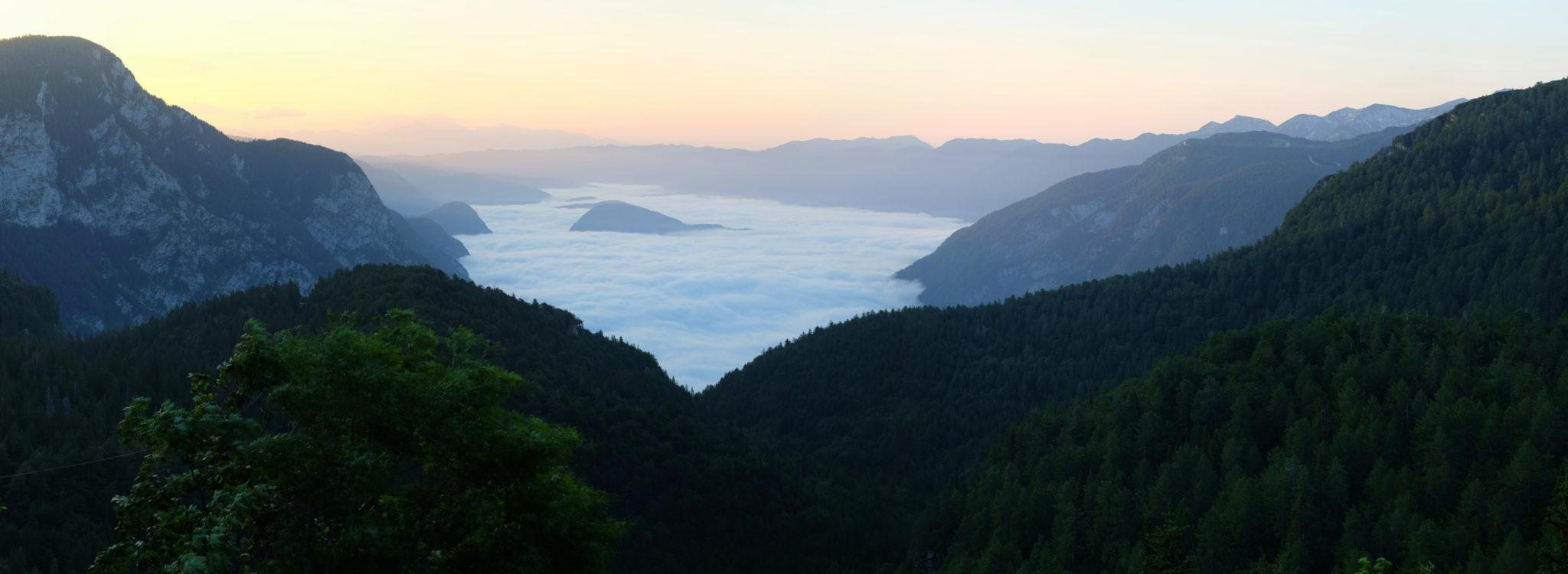 View over Lake Bohinj from Komna