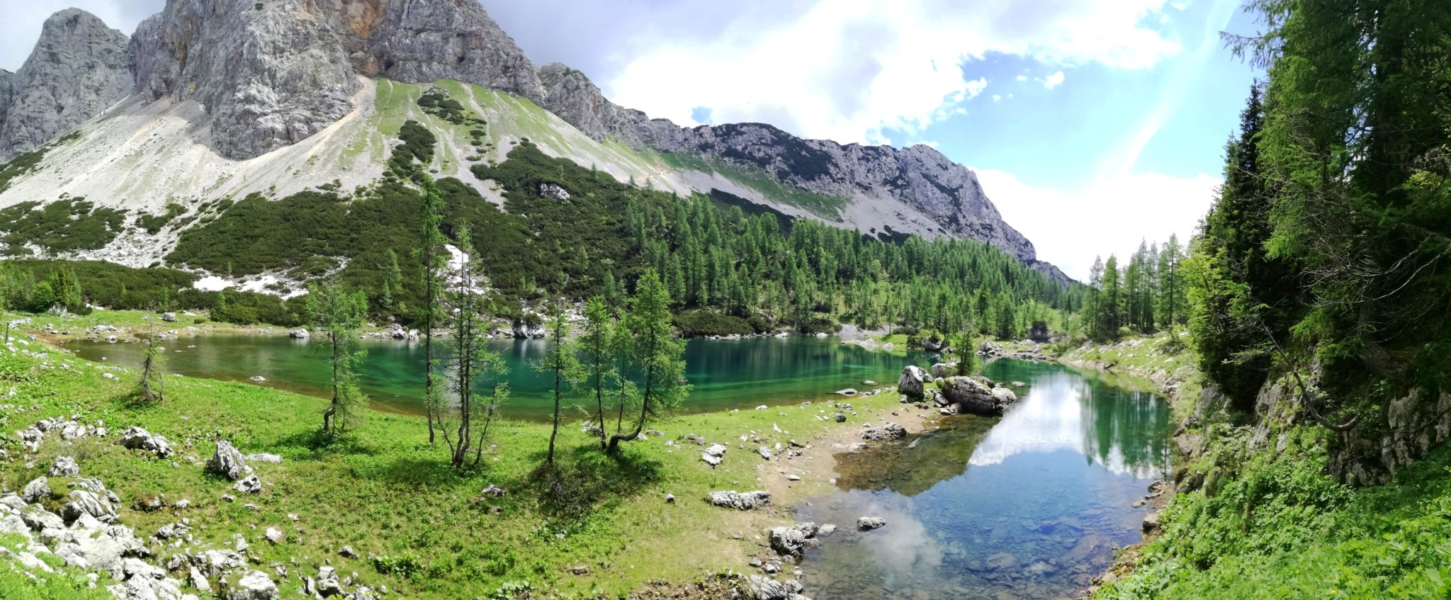 The Double Lake of the Triglav Lakes lies directly beneath Mt. Mala Tičarica