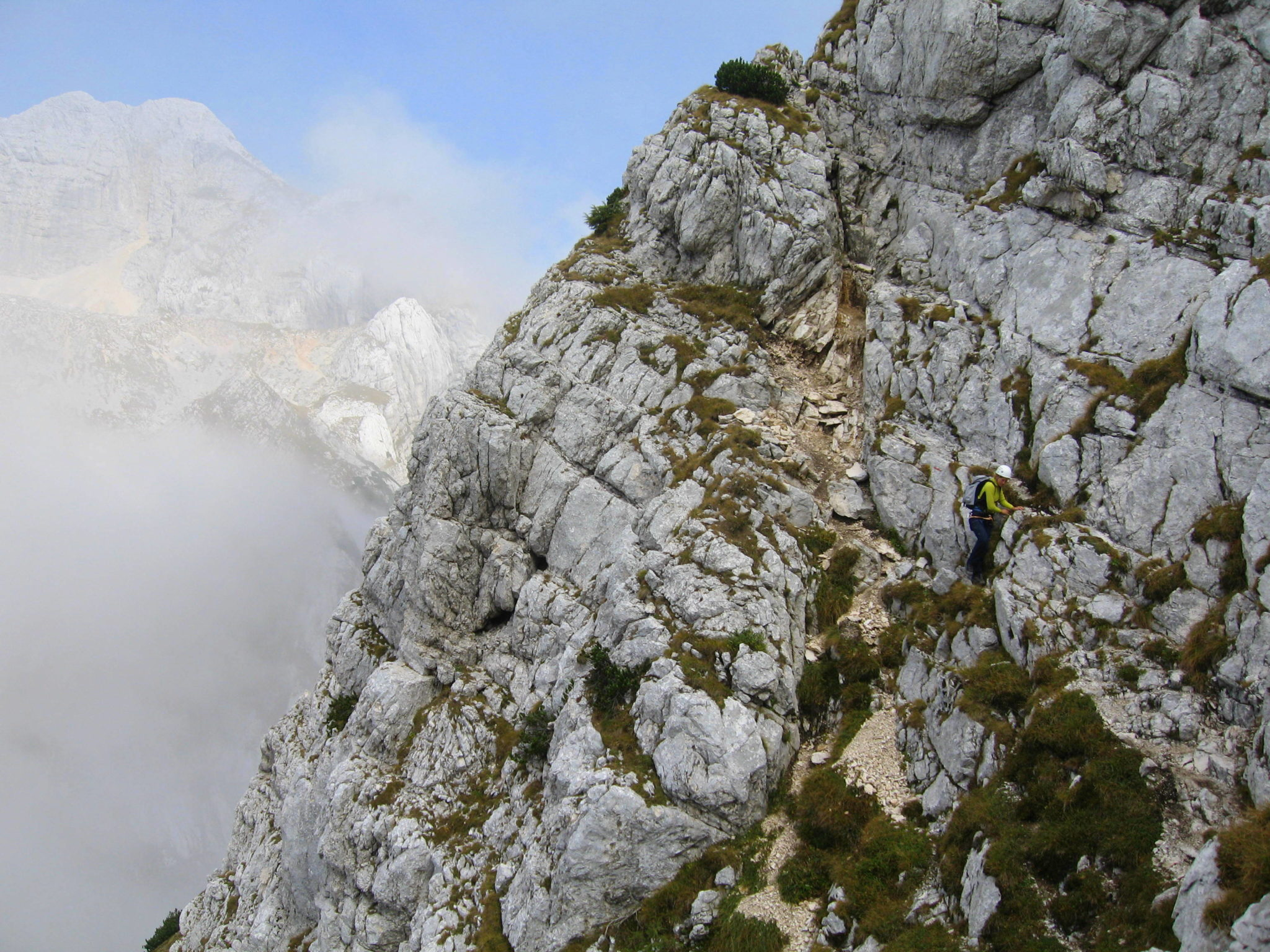 Čez Plemenice, the Bamberg Route to Triglav, crossing Triglav North Face
