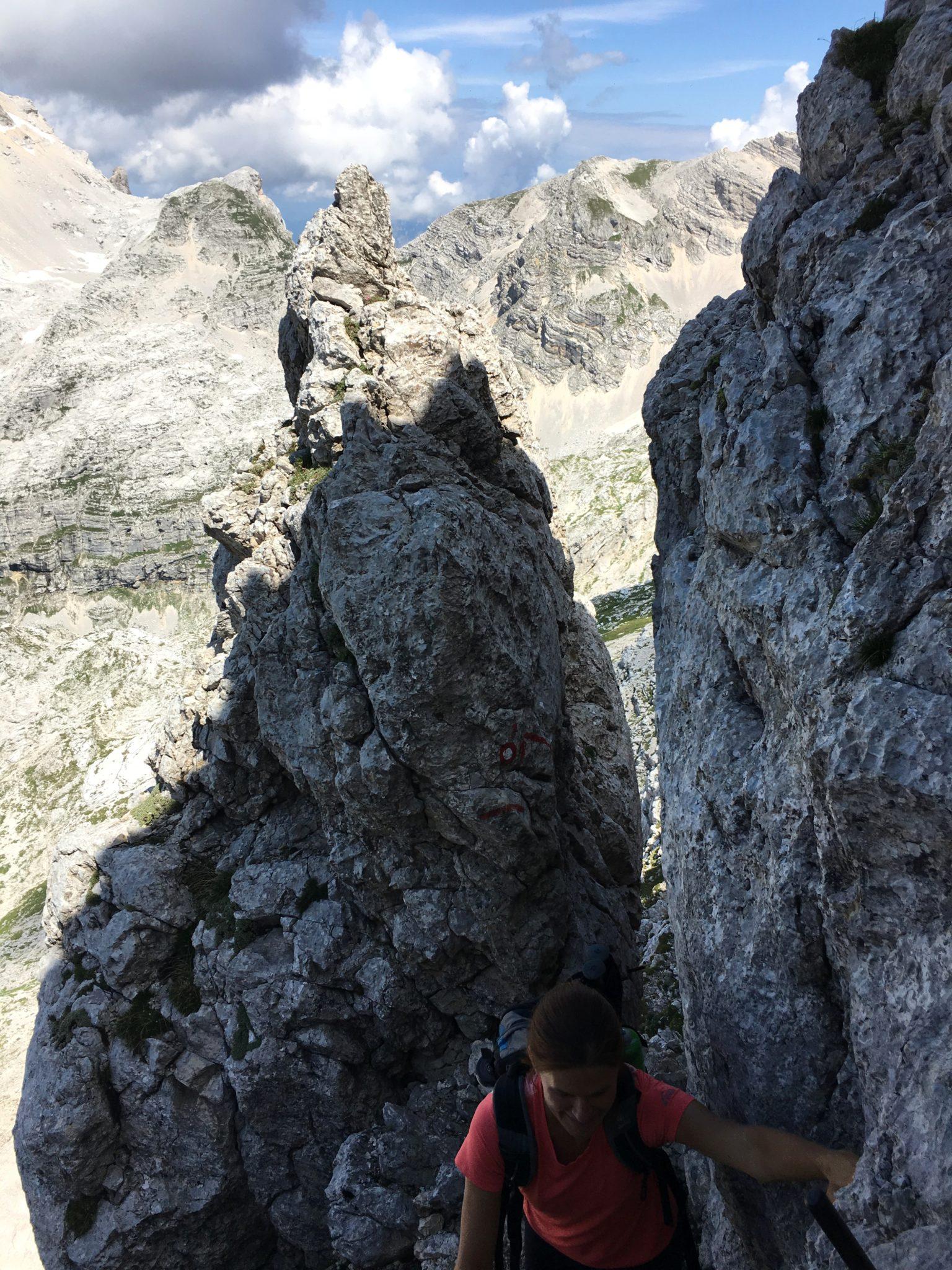Climbing in the mountains, Bovški Gamsovec, Julian Alps, Slovenia