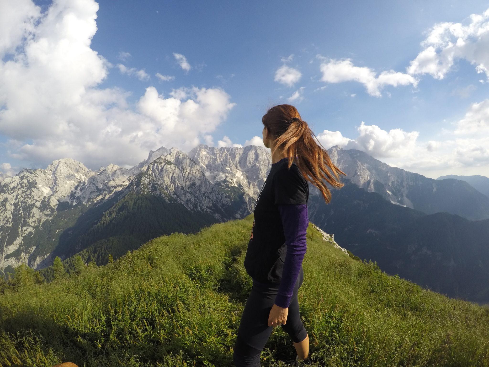 At the top of Goli Vrh, the Kamnik-Savinja Alps, Slovenia