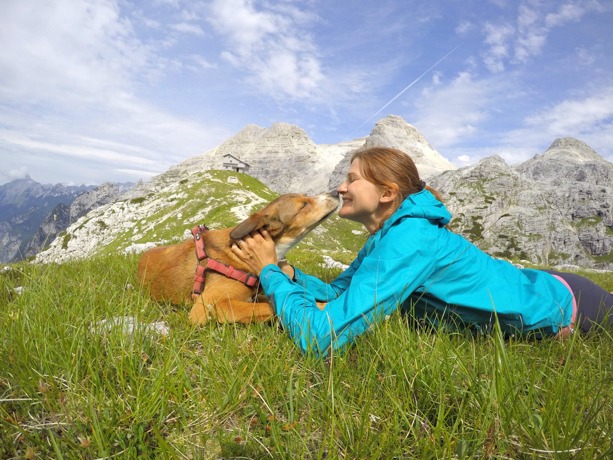 A dog and a woman hiker lying in grass in the mountains