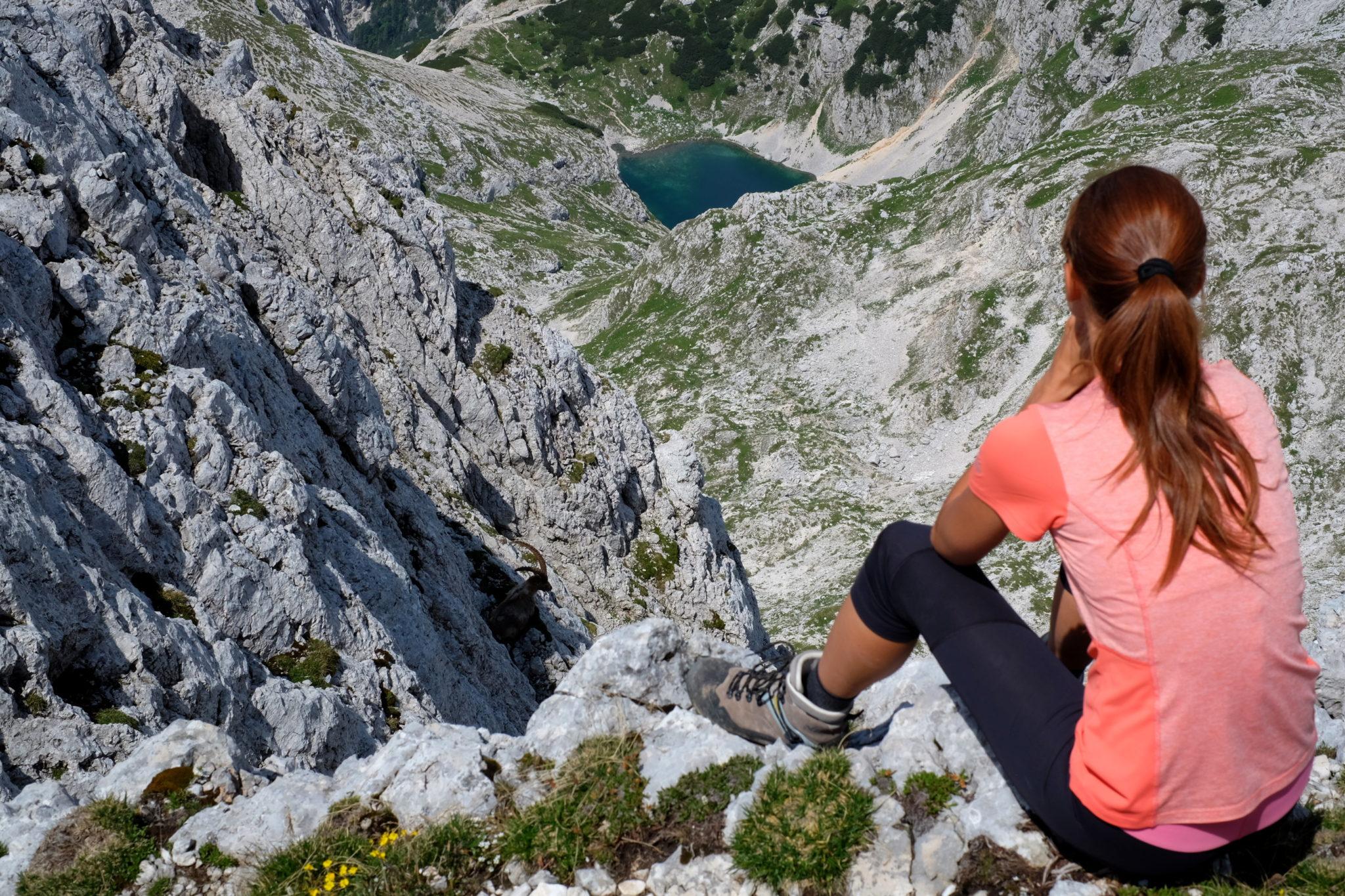 Hiking in Julian Alps, a lakes, an Alpine ibex, a woman hiker