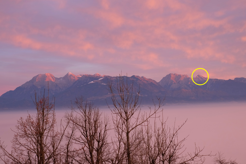 The Kamnik-Savinja Alps for sunrise as seen from Šmarna Gora, Ljubljana.