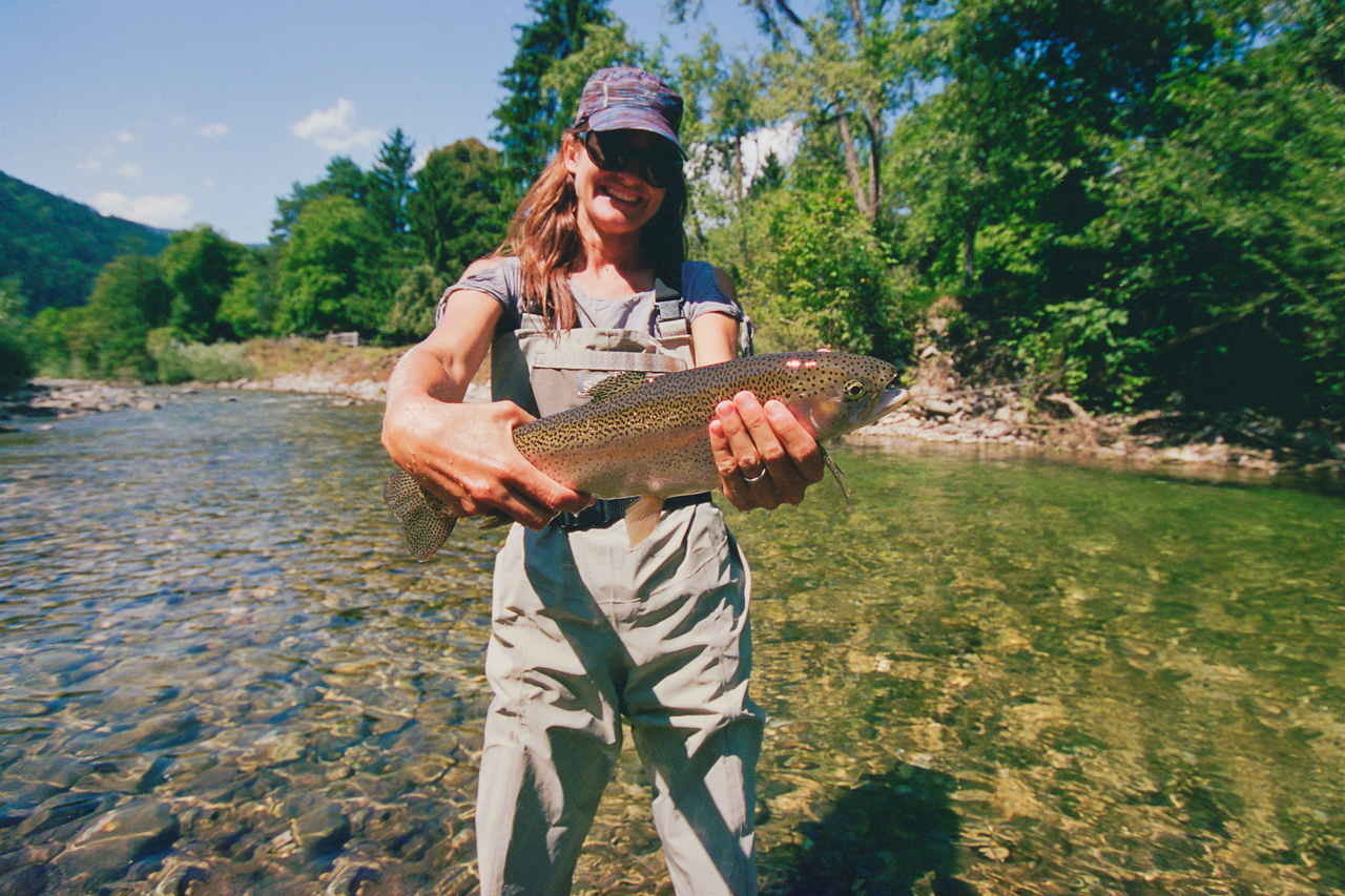 Fly fishing brown trout, Logar Valley, Slovenia