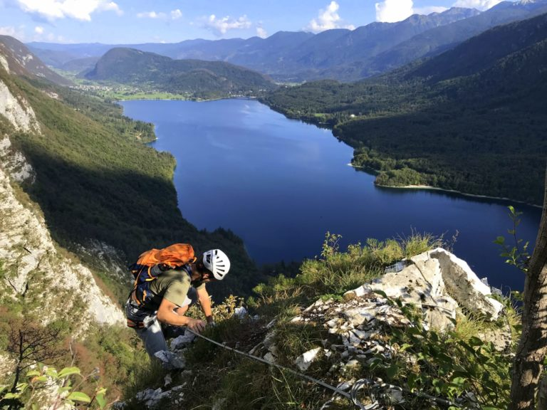 Climbing the via ferrata above Lake Bohinj, Ožarjeni Kamen