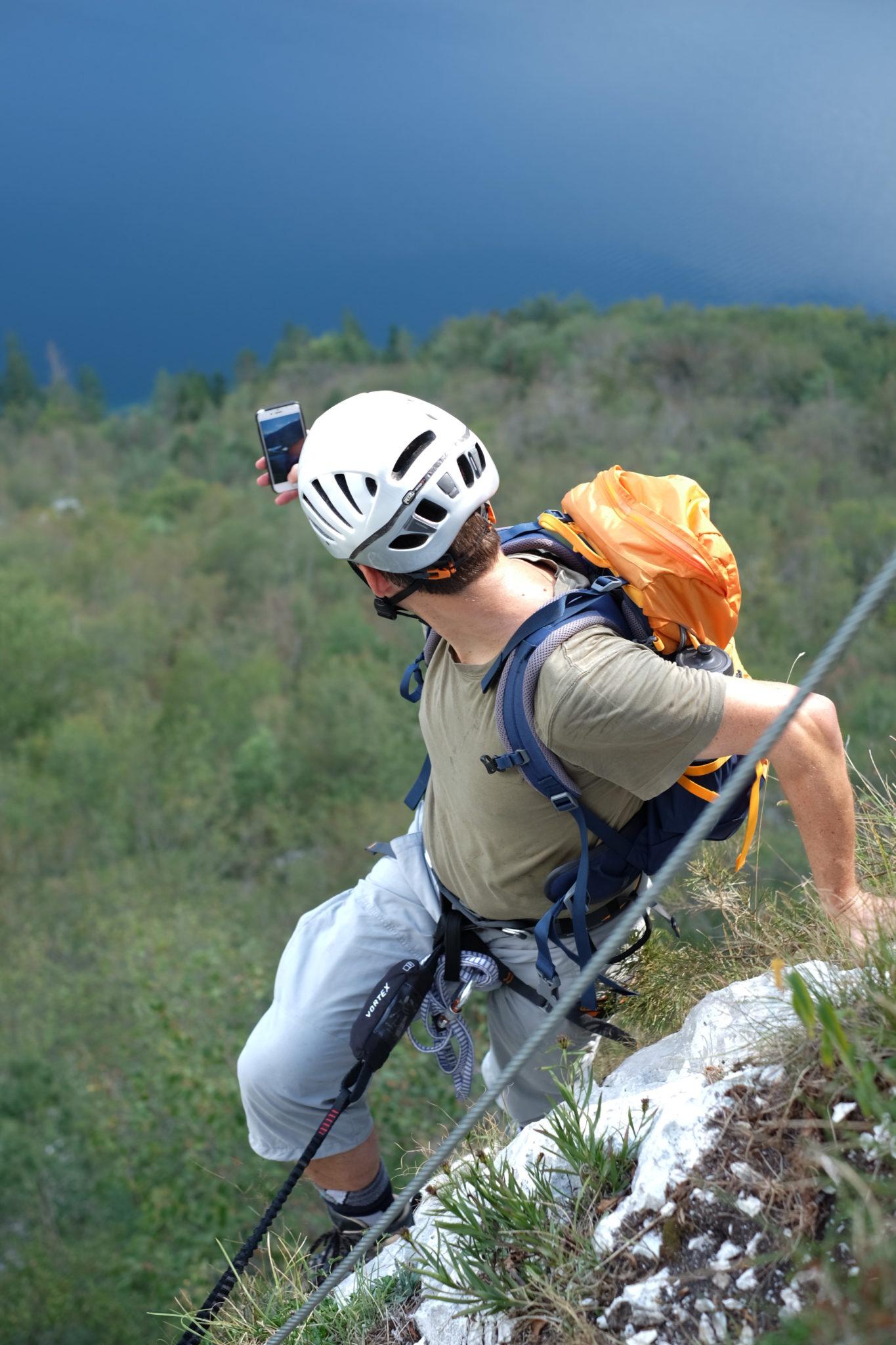 Climbing the via ferrata above Lake Bohinj, Ožarjeni Kamen