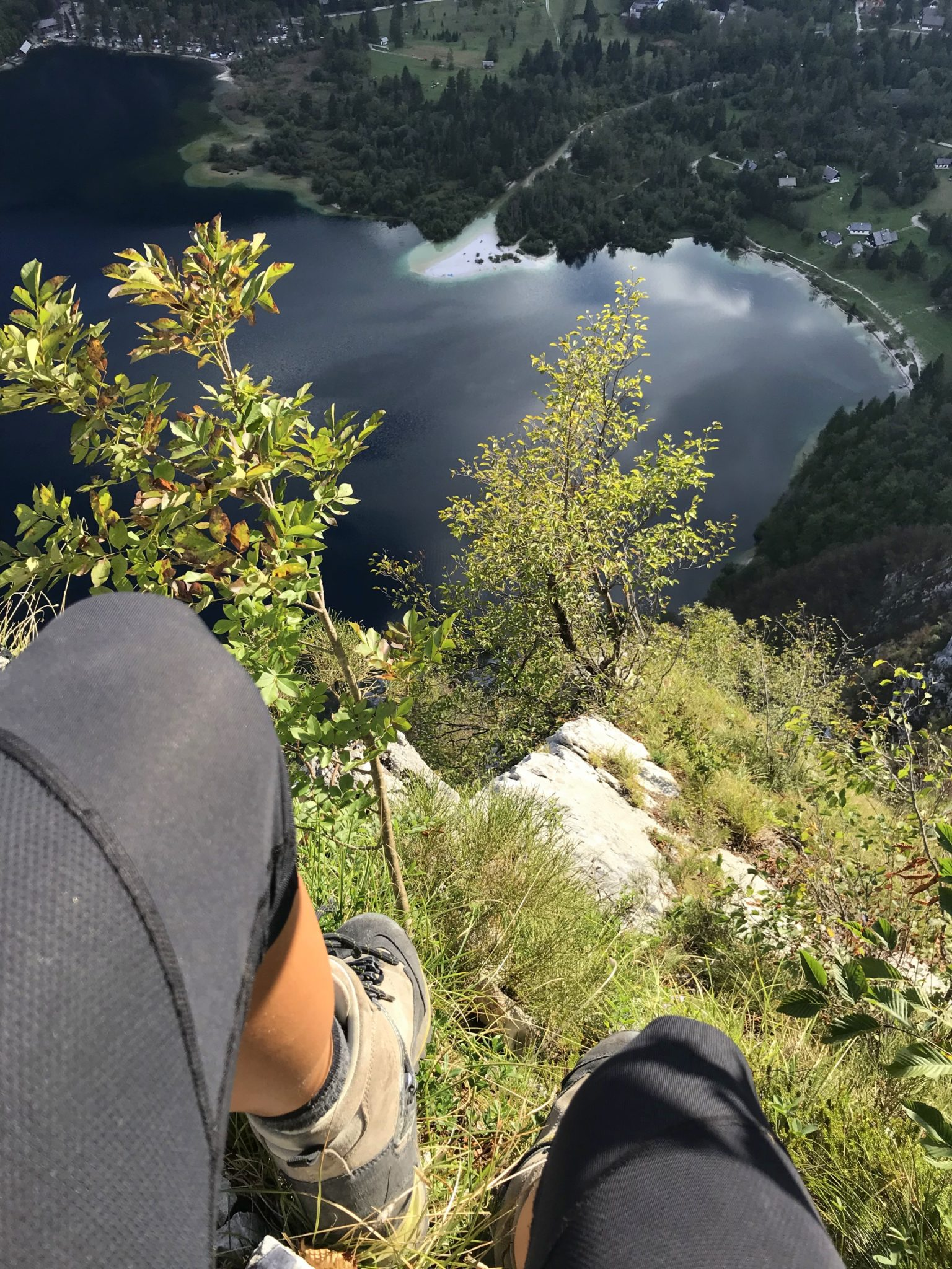 Enjoying the climb above Lake Bohinj, via ferrata Ožarjeni Kamen