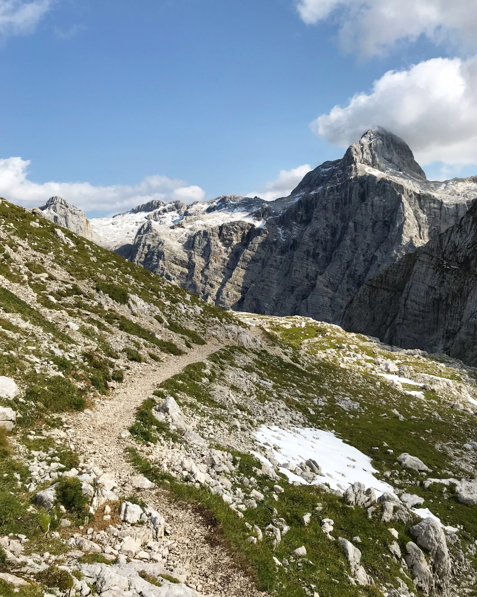 Hiking in the Julian Alps, view of the Triglav North Face, Slovenia