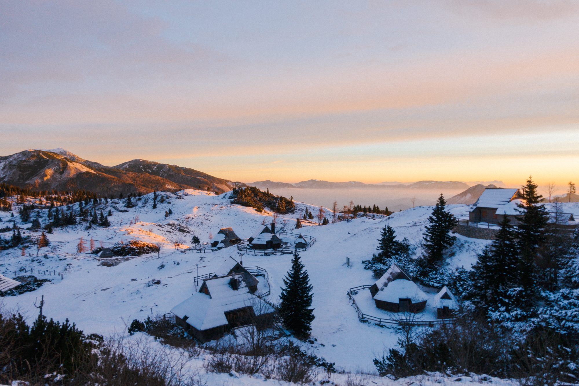 Velika Planina for sunrise in the winter, snow, Visit Ljubljana, Slovenia