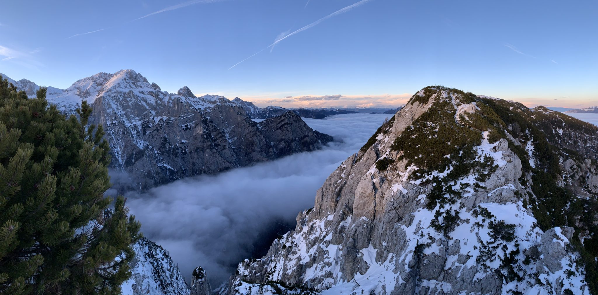 Julian Alps mountains with a sea of fog, Triglav National Park, Slovenia