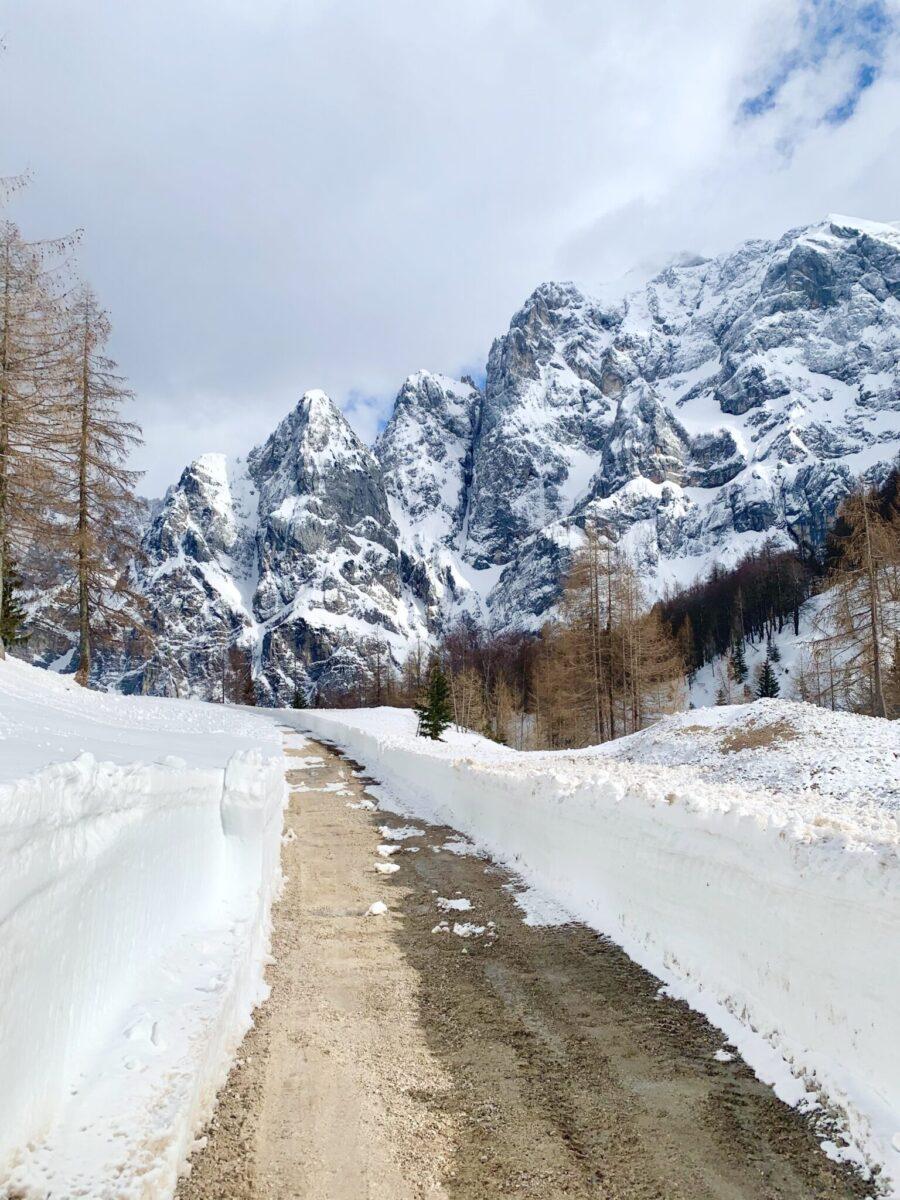 The beautiful Vršič Pass in winter